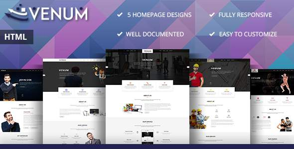 Venum - One Page Business Corporate HTML5 Template            TFx David Surya