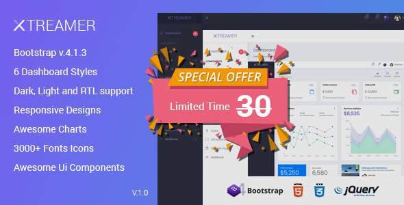 Xtreamer - Responsive Bootstrap Admin Templates            TFx Edmund Quinn