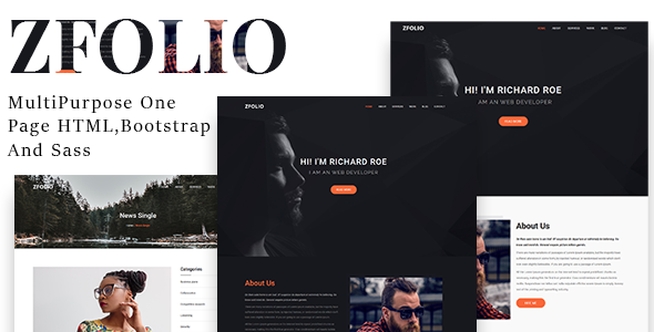 Zfolio | MultiPurpose One Page HTML And Sass Template            TFx Gerry Denholm
