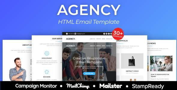 Agency – Responsive Email Template 30+ Modules – StampReady Builder + Mailster & Mailchimp            TFx Lacey Loyd