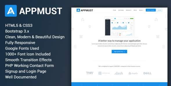 Appmust - Responsive App Landing Page Template            TFx Blaine Cale