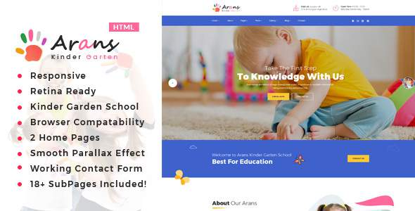 Arans – Kindergarten & School HTML Template            TFx Yolotli Youta