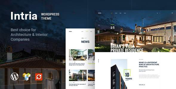Intria - Architecture and Interior WordPress Theme            TFx Notah Kenta
