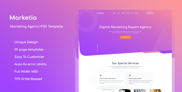 Marketia - Marketing Agency Business PSD Template            TFx Hibiki Bryn