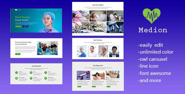 Medion - Responsive Medical and Health Landing Page Template            TFx Nerses Noboru