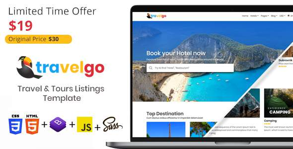 TravelGo - Travel and Tours Listings HTML Template            TFx Jase Tylor