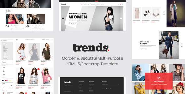 Trends - eCommerce HTML5 and Bootstrap 4 Template            TFx Yaxkin Wolfe