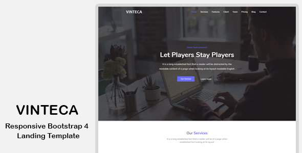 Vinteca - Responsive Bootstrap 4 Landing Template            TFx Carver Silver