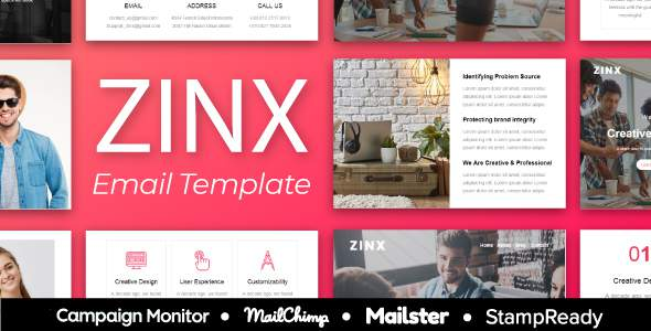ZINX – Multipurpose Agency Email Template With StampReady, Mailster, Mailchimp, Campaign Monitor            TFx Wayan Presley