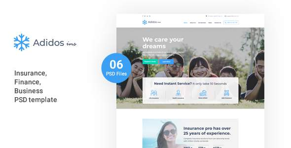 Adidos – Insurance, Business, Finance PSD Template            TFx Elwyn Cass