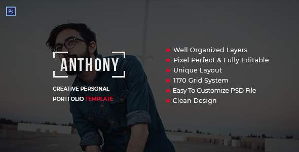Anthony - Creative Personal Portfolio Template PSD            TFx Percival Mort