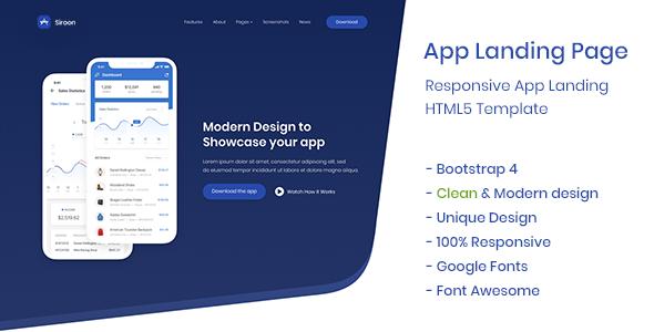 App Landing Page - Siroon            TFx Darion Woodie