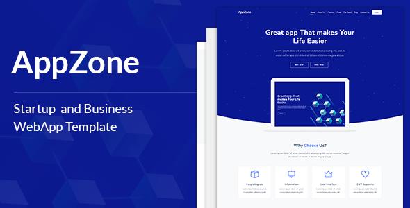AppZone - Startups Business & WebApp Template            TFx Benj Godfrey