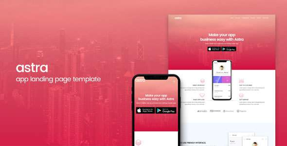 Astra | App Landing Page Template            TFx Tel Elwood