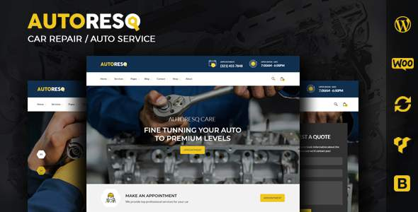 Autoresq – Auto Repair WordPress Theme            TFx Cass Manley