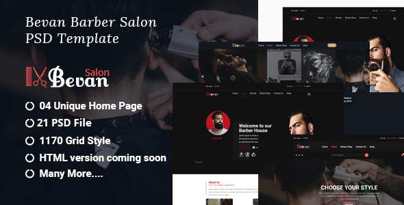 Bevan - Barber Salon PSD Template            TFx Irwin Arvel
