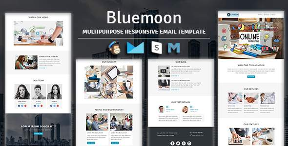 Bluemoon - Multipurpose Responsive Email Template With Stampready Builder & Mailchimp Access            TFx Royale Lindy