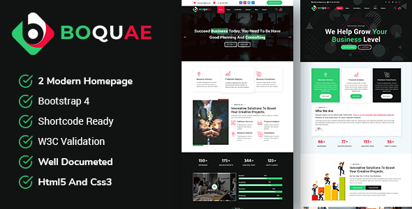 Boquae - Business and Consulting  Responsive HTML5 Template            TFx Ryder Pip