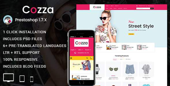 Cozza – Fashion Prestashop 1.7 Responsive Theme            TFx Erskine Sheridan