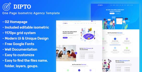 DIPTO - One Page Isometric Creative Agency Template            TFx Jirair Randolph
