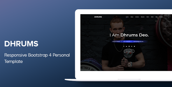 Dhrums – Responsive Bootstrap 4 Personal Template            TFx Bradford Eddie