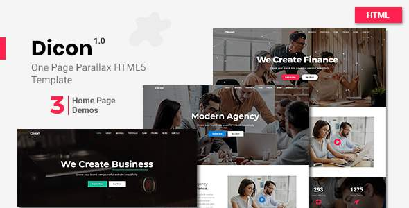 Dicon - One Page Parallax Html5 Template            TFx Azat Sterling
