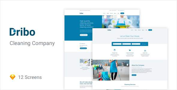 Dribo — Cleaning company Sketch Template            TFx Skenandoa Red