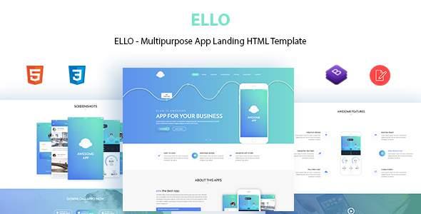 ELLO - Multipurpose App Landing HTML Template            TFx Naoki Ameyalli