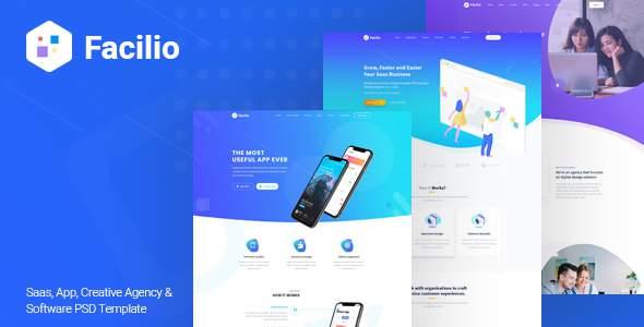 Facilio - Saas, App, Creative Agency and Software PSD Template            TFx Blaine Wayland