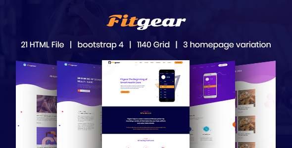 Fitgear App Landing HTML5 Template            TFx Les Toby