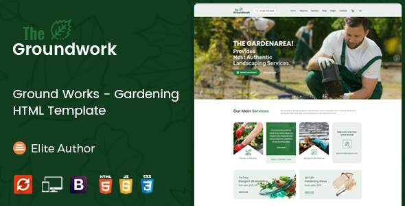 Ground Works - Gardening HTML Template            TFx Tamerlane Theobald