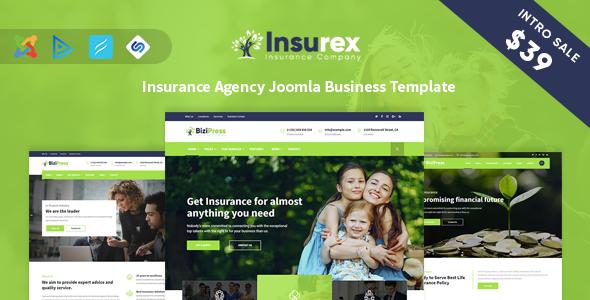 Insurex - Insurance Agency Joomla Business Template            TFx Mervin Nickolas