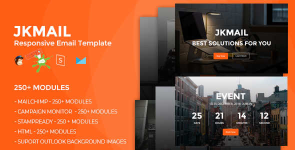 JKmail- Best Responsive Email Template (250+ Modules) + Online Stampready Builder            TFx Drake Greg