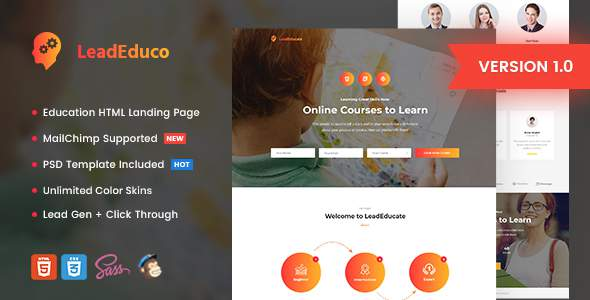 LeadEduco - Education HTML Landing Page Template            TFx Shiori Nurul