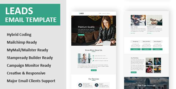Leads - Multipurpose Responsive Email Template with Online StampReady Builder & Mailchimp Editor            TFx Fulk Xzavier