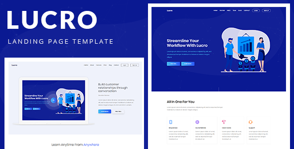Lucro – Responsive Bootstrap 4 Landing Template            TFx Blaze Hachiro
