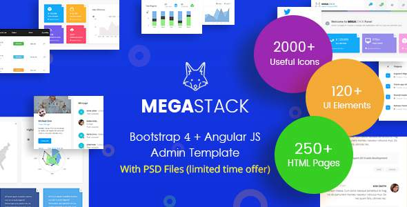 MegaStack - Bootstrap 4 & Angular JS Admin Dashboard Template and UI Framework            TFx Chile Cahya