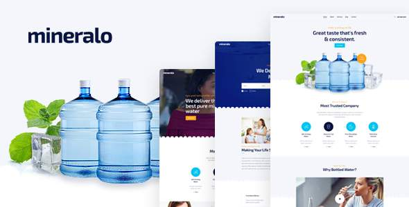 Mineralo - Bottled Water Delivery Service For Home & Office PSD Template            TFx Dusty Gerard