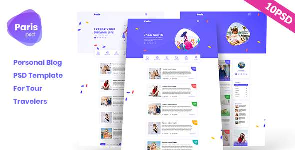 Paris - Personal Tour Travelers Blog PSD Template            TFx Tarquin Rain