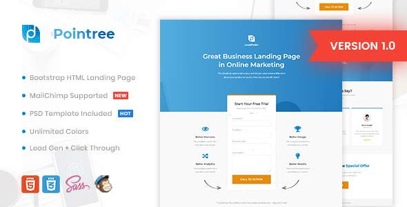 Pointree – Business HTML Landing Page Template            TFx Wapasha Douglas
