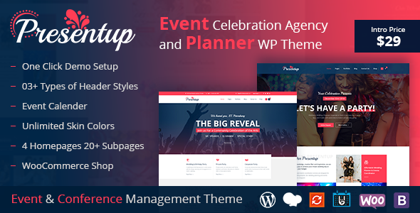 Presentup - Event Planner & Celebrations Management WordPress Theme            TFx Peregrine Alf