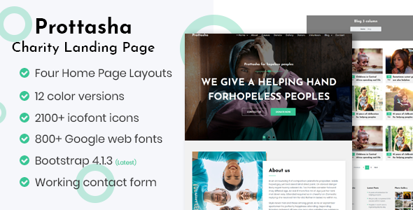 Prottasha – Bootstrap 4 Charity Landing Page            TFx Harta Wilfred