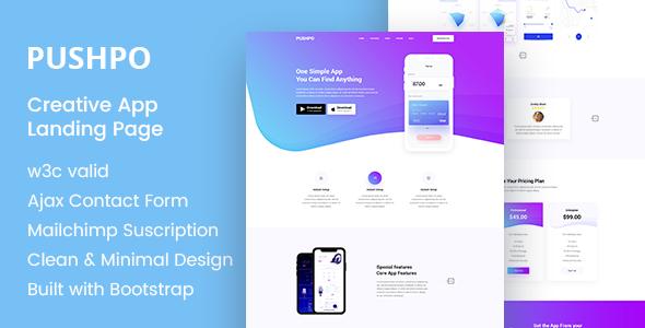 Pushpo - Creative App Landing Page            TFx Elijah Grosvenor
