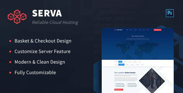 Serva - Cloud Hosting and Server PSD Template            TFx Basil Dom