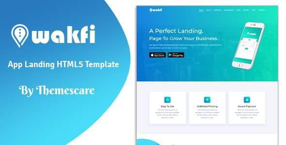 Wakfi - App Landing HTML5 Template            TFx Ralphie Arn
