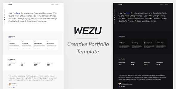 Wezu - Creative Portfolio Template            TFx Jared Cary