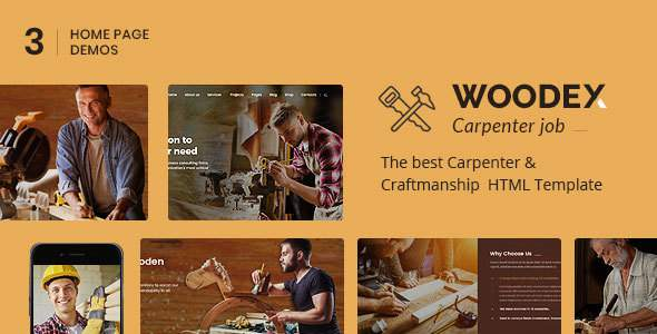 Woodex - Carpenter and Craftman Business HTML Template            TFx Jonty Leo