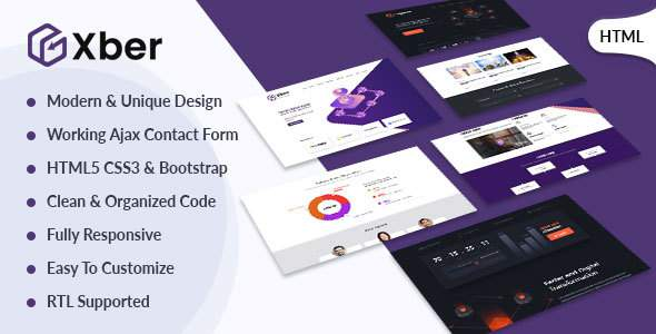 Xber – ICO Cryptocurrency & ICO Landing Page HTML Template            TFx Edwyn Fraser