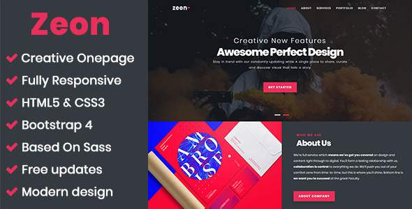 Zeon - Creative Onepage Template            TFx Frederick Ron
