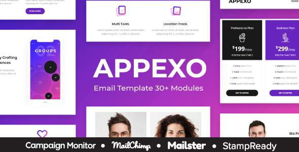 Appexo - App Responsive Email Template + Mailster + StampReady Builder + Mailchimp Editor      TFx Yoshiro Virgil